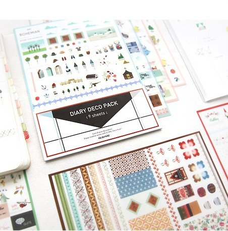 Korean Stationary Kawaii Stickers 9 Sheets Diary Deco Pack Sticker Pvc Scrapbooking Sticker/sticky (Stationary Stickers)