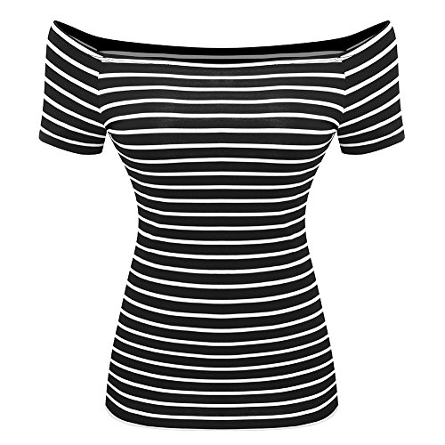 Women's Short Sleeve Vogue Fitted Off Shoulder Modal Blouse Top T-Shirt (XX-Large, Big Stripe)