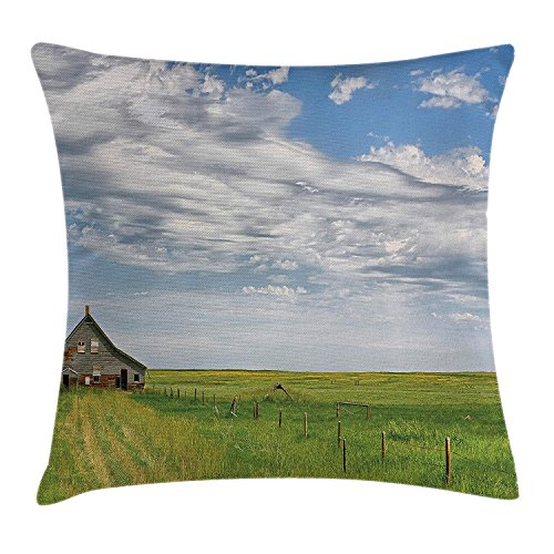 LIUDAINC Rustic Home Decor Throw Pillow Cushion Cover, Canadian Timber House in Terrain Grassland Clouds in Air Landscape, Decorative Square Accent Pillow Case, 18 X 18 inches, Green Blue ()