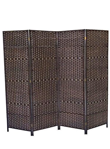 Urnporium Woven 4 Panel Room Divider with Solid Wood Frame Oriental Partition Screen, Dark Brown
