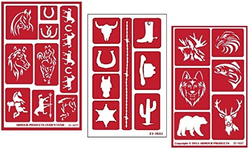 3 Armour Etch Over N Over Reusable Glass Etching Stencils Set | Horse, Western and Wild Animals Theme ()