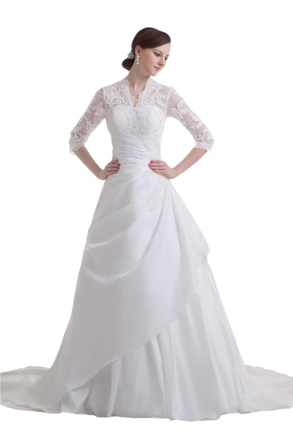 Sunvary Modest Lace Long Sleeves Ball Gown Bride Dress Wedding White At Amazon Womens Clothing Store Evening Dresses