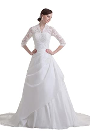 Sunvary Modest Lace Long Sleeves Ball Gown Bride Dress Wedding White ...