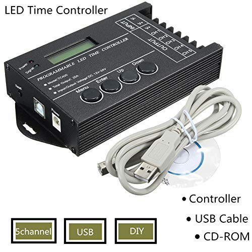 Naliovker Controlador Led Rgb Programable Por Tiempo Tc420 Regulador de Tiempo Led 5 Canales Dc12V-24V