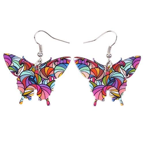 Bonsny Acrylic Drop Dangle BUTTERFLY Earrings Funny Design Lovely Gift For Girl Women Fashion (Acrylic Butterfly Earrings)