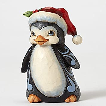 Jim Shore Heartwood Creek Pint-Size Christmas Penguin with Patch Coat Stone Resin Figurine, 4.5