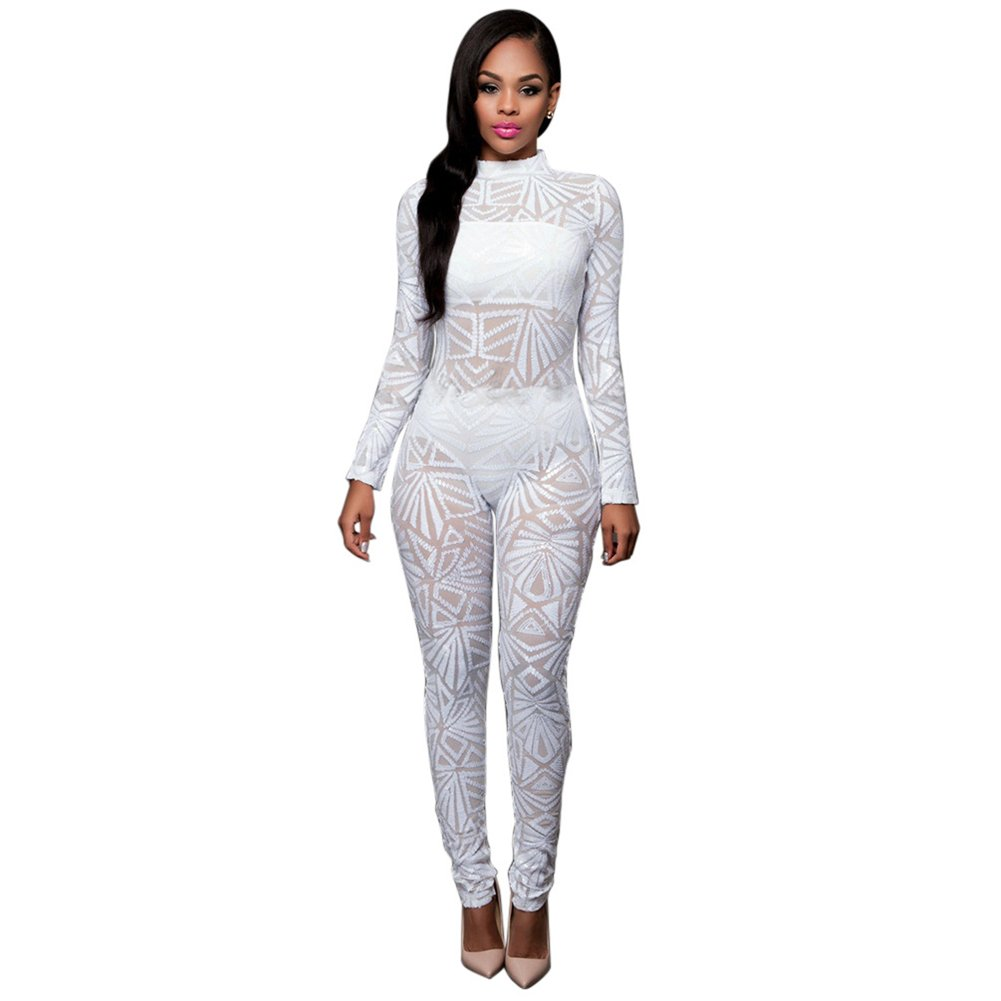 d3d538029ff Women s Girls Sexy Long Sleeve Sequins See Through Romper Jumpsuit Long  Party Club Dress White XL