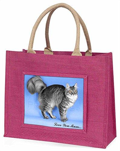 Advanta Silber Maine Coon Katze, Love You Mum Große Einkaufstasche Weihnachten Geschenk Idee, Jute, Rosa, 42x 34,5x 2cm