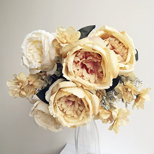 jiumengya 2 Deep Champagne Color Rose Bunches Hybrid Rose Flower Bunch with Thai Orchid Flower Heads 42cm 9 Heads for Bridal Bouquet Wedding Centerpiece Decorative Artificial Flower (Deep Champagne) by jiumengya