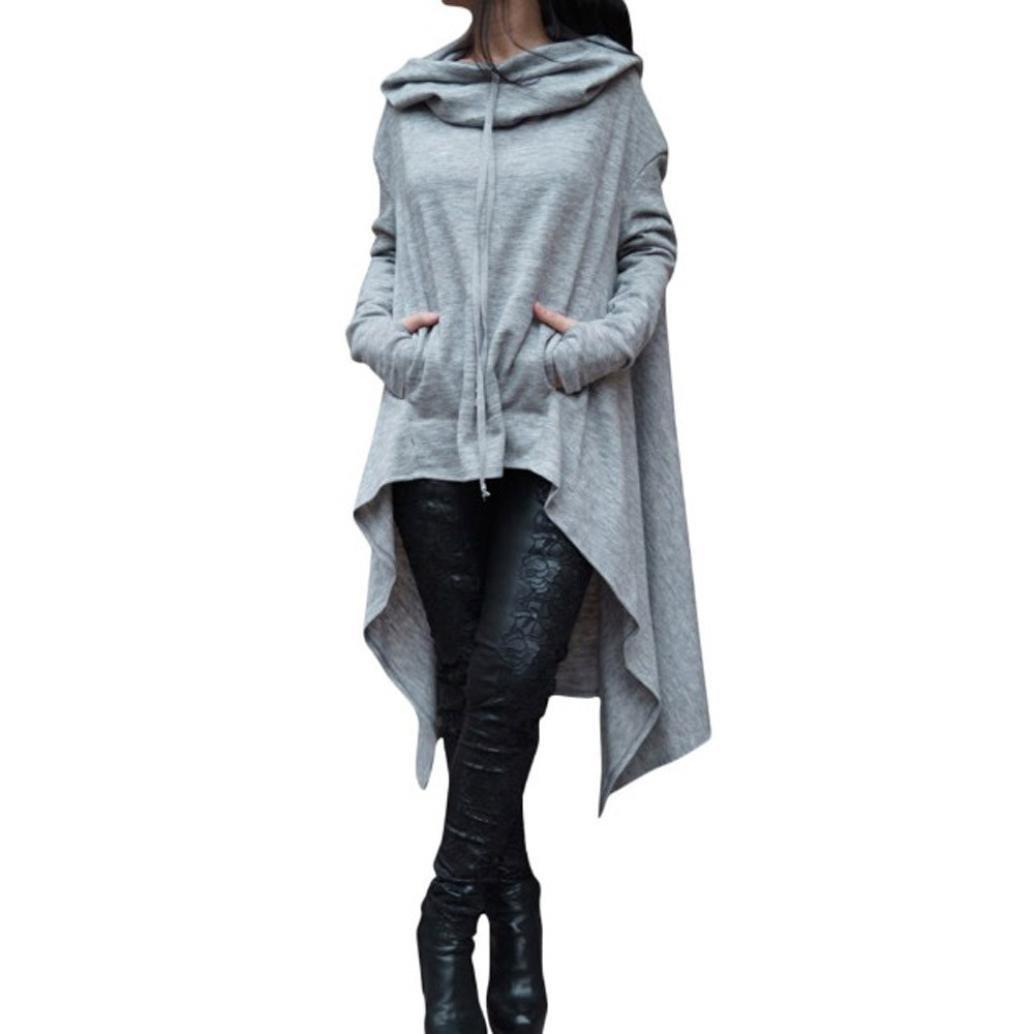 Sudadera Con Capucha Para Mujer, VENMO Señoras Manga Larga Irregular Sudadera Suéter Blusa Asimétrica VENMO2768
