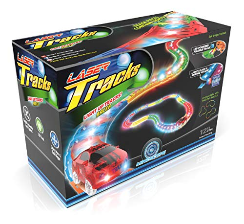 Mindscope LED Laser Tracks by Twister Tracks 12 Feet of Light up Flexible Track + 1 Light up Race Car Each Individual Track Piece Contains Lights (Standard Color System) (Track Flexible System)