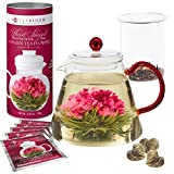Teabloom Amore Flowering Teapot Gift Set - Borosilicate Glass Teapot with Infuser (34 oz) - 12 Heart-Shaped Blooming Tea Flowers Included