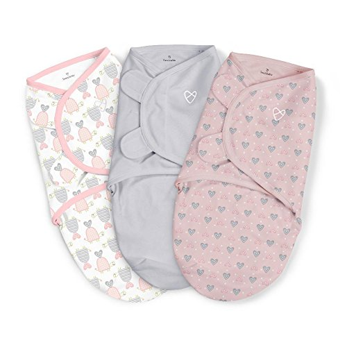SwaddleMe Girls 3 Pack Slow and Steady Swaddle Blanket - Small