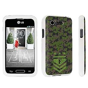 DuroCase ? LG L34C Optimus Fuel / LG Optimus Zone 2 VS415PP Hard Case White - (Army Camo Monogram F)