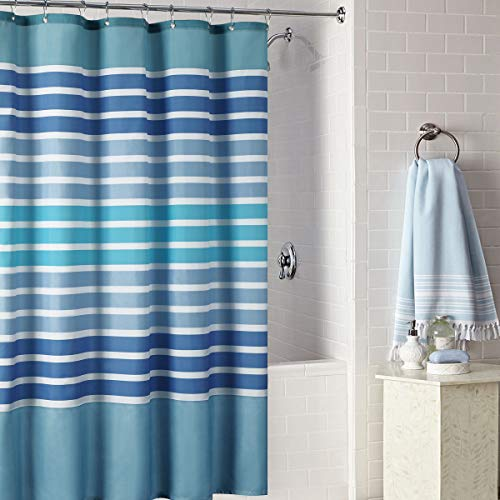 DS BATH Tampa Shower Curtain,Blue Shower Curtain,Mildew Resistant Shower Curtains for Bathroom,Stripe Bathroom Curtains,Print Waterproof Shower Curtain,72