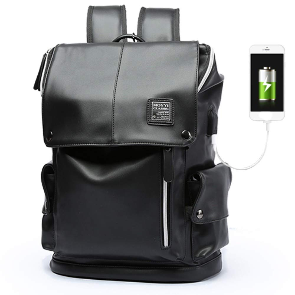 HXG Laptop Backpack 14 Inch Waterproof Travel Bag Fashion Casual Merchant   Lightweight Men and Women Backpack Large Capacity PU with USB Charging Port