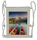 Ambesonne Fishing Drawstring Backpack, Lake Sailboats, Sackpack Bag
