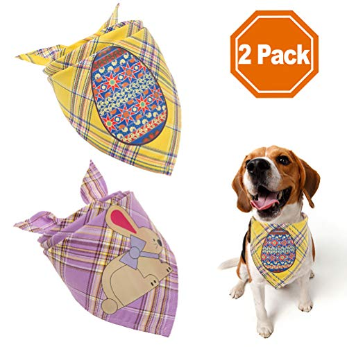 PAWCHIE Plaid Easter Dog Bandanas with Easter Bunny & Easter Egg - 2 Pack Reversible Triangle Bibs Pet Scarf for Small to Large Dogs, Cats