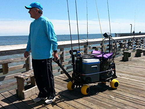 Surf fishing cart wagon with wheels for sand fish pole rod for Surf fishing cart