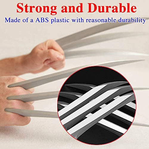 Amoybear Wolverine Claws Realistic Thickened Plastic Wolverine Costume Cosplay Claw Dagger Props for Halloween Plastic for Kids and Adults Pairs Silver Medium