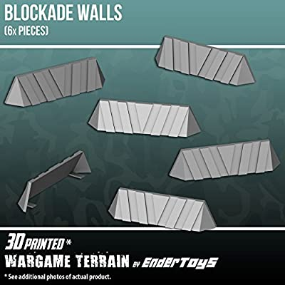 Blockade Walls, Terrain Scenery for Tabletop 28mm Miniatures Wargame, 3D Printed and Paintable, EnderToys by Seus Corp Ltd