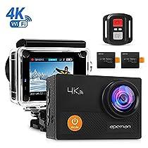 APEMAN 4K Action Cam Wi-Fi Ultra FHD Impermeabile 30M Immersione Sott'acqua Camera con Schermo 2 Pollici 170 Gradi Ampia Vista Grandangolare/ Telecomando 2.4G/ 20 Accessori all'Interno
