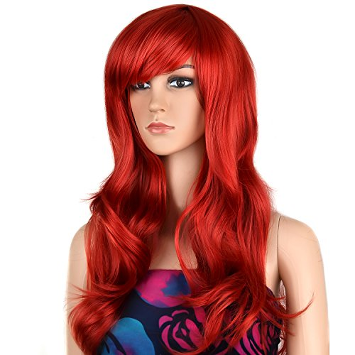 Ecvtop Wigs 28 inch Wavy Curly Cosplay Wig Women Wig Long Hair Heat Resistant Wig (Red)]()