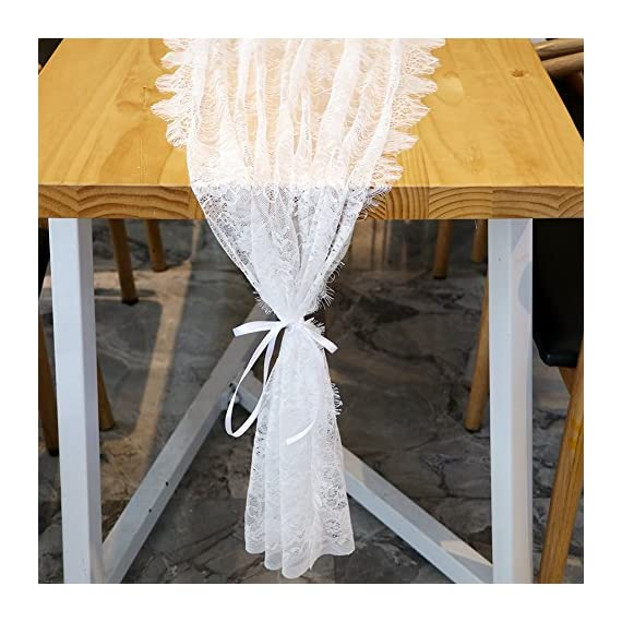 OurWarm 28 x 120 Inches Vintage Lace Wedding Table Runner, White Floral Lace Table Runners for Rustic Chic Wedding Reception Table Decor, Boho Wedding Bridal Shower Party Decorations - ◆Perfect Size: 28 x 120 inches rustic lace table runner, Great for decorating your boho wedding reception table ◆Soft Material: made of premium lace, and soft touch lace with fringe and eye-catching openwork to add a simple classy touch to your home decoration ◆Elegant Design: Use floral patterns design, simple practical style, matching with bohemian, chic or other modern themes to add a romantic touch or stay with the classic elegant design - table-runners, kitchen-dining-room-table-linens, kitchen-dining-room - 51qu5v3ufAL. SS570  -