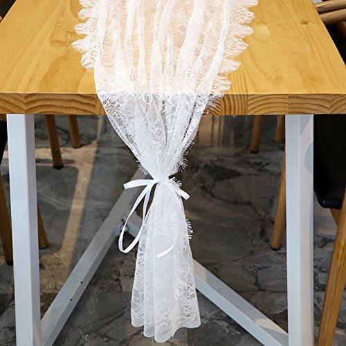 OurWarm 28 x 118 Inch White Lace Table Runners Classy Fringe Edge Floral Table Runner for Bridal Shower Boho Wedding Decorations