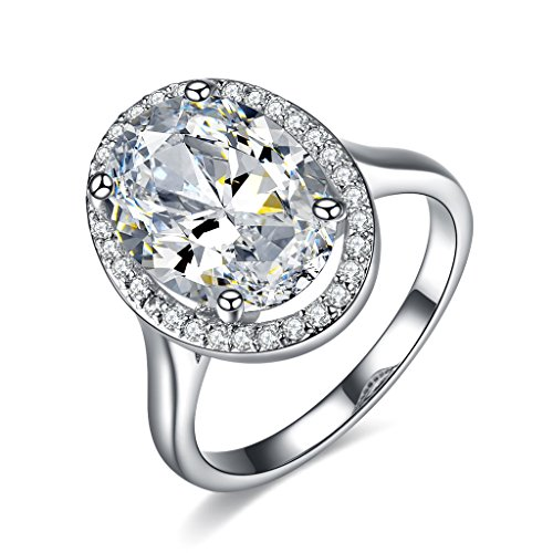 UMODE Jewelry Gorgeous Stunning 6 Carat Oval Cubic Zirconia CZ Accented Halo Engagement Wedding Ring(6)
