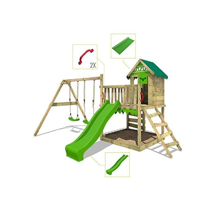 51qu69tmY7L Parque infantil con casita infantil en diseño tropical - Área de juegos da exterior Madera maciza impregnada a presión - Poste de columpio 9x9 cm - Calidad y seguridad aprobada Instrucciones de montaje detalladas - Varias opciones de montaje - Made in Germany