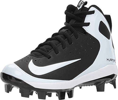Nike Kids' Alpha Huarache Pro Mid Baseball Cleats (6, Black/White)