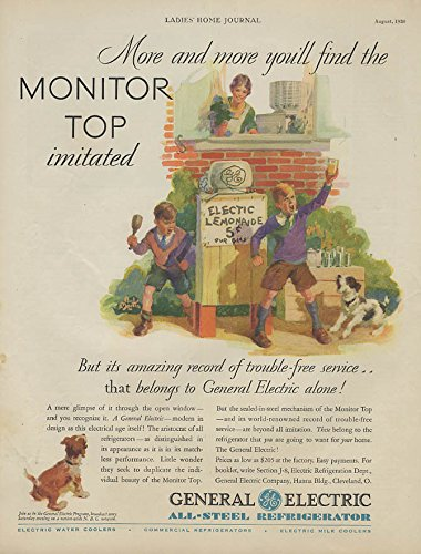 More & more imitated General Electric Refrigerator ad 1930 lemonade stand 1930 General Electric Refrigerator