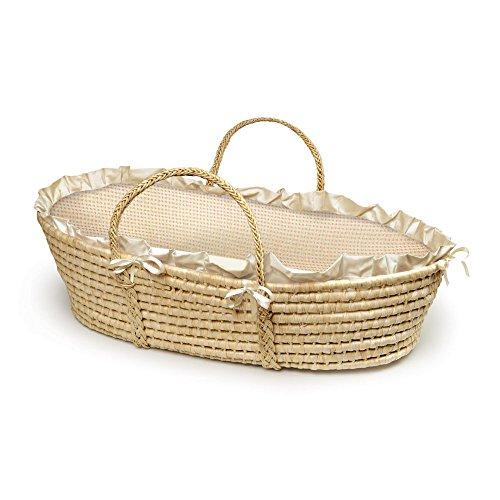 Badger Basket Natural Moses Basket with Gingham Bedding by Badger Basket