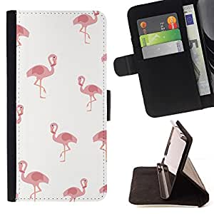 For Apple iPhone 5C Case , Pelican Rose Blanc minimaliste Motif Oiseau - la tarjeta de Crédito Slots PU Funda de cuero Monedero caso cubierta de piel