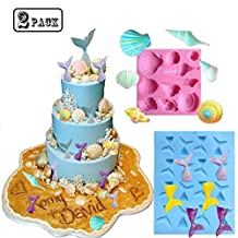 2 Pack Sea Life Molds Set Mermaid Tail Mold Seashell Mold Silicone Fondant Mold Chocolate Mold Soap Mold Cakes Decorating Chocolate Cupcake Topper Candy Mermaid Series Mold