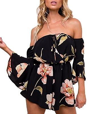 Relipop Women's Summer Floral Off shoulder 3 4 Sleeves Romper Jumpsuit