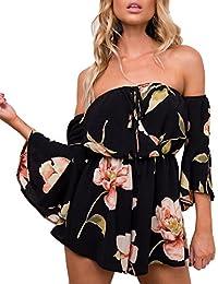 Women's Summer Floral Off Shoulder 3 4 Sleeves Romper...