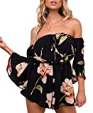 Relipop Women's Summer Floral Off Shoulder 3 4 Sleeves Romper Jumpsuit (Medium, Black)