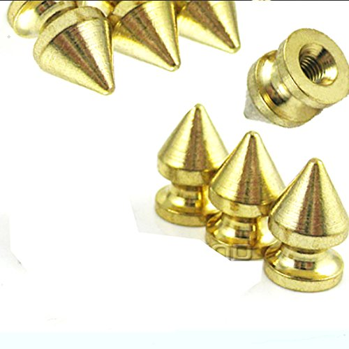Gold Metal Spike (RUBYCA 12MM 20 Sets Metal Tree Spikes and Studs Metallic Screw-Back for DIY Leather-craft Gold Color)