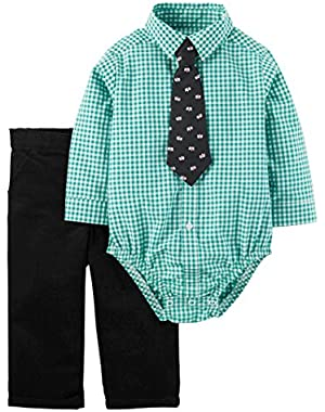 Carter's Just One You Baby Boys' Plaid Set with Tie - Green/Black
