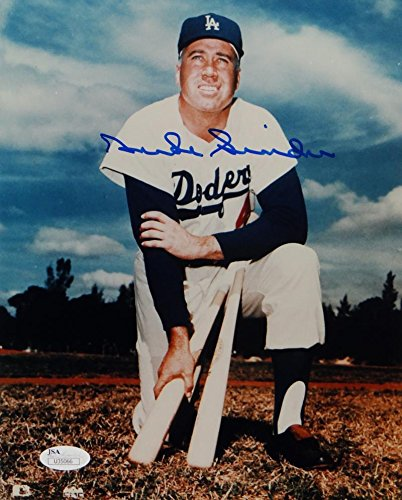Duke Snider Autographed Dodgers 8x10 Color Kneeling Photo- JSA Auth Blue