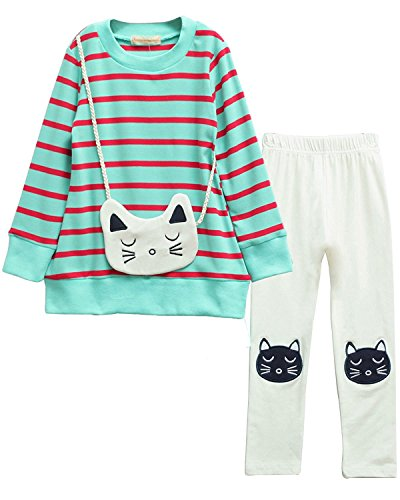 Girls Long Sleeve Top Pant Set(Blue Cat,Tag 140) ()