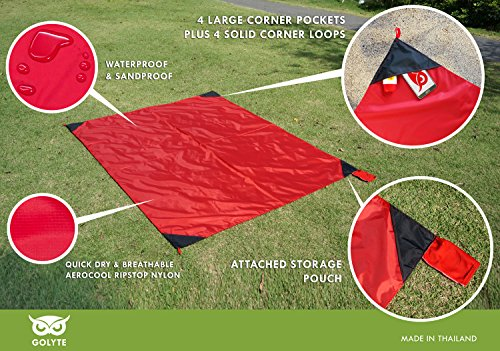 18d55d26a7 Golyte Beach Blanket   Picnic Blanket Mat Portable Easy Fold Extra Large  Compact Lightweight Sand Free Proof   Waterproof with 4 Corner Loops Sand  Pockets ...