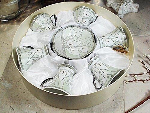 Box Calli Design - D'Lusso Designs Calli Lilly Design Twelve Piece Espresso Set In Hat Box by D'Lusso Designs