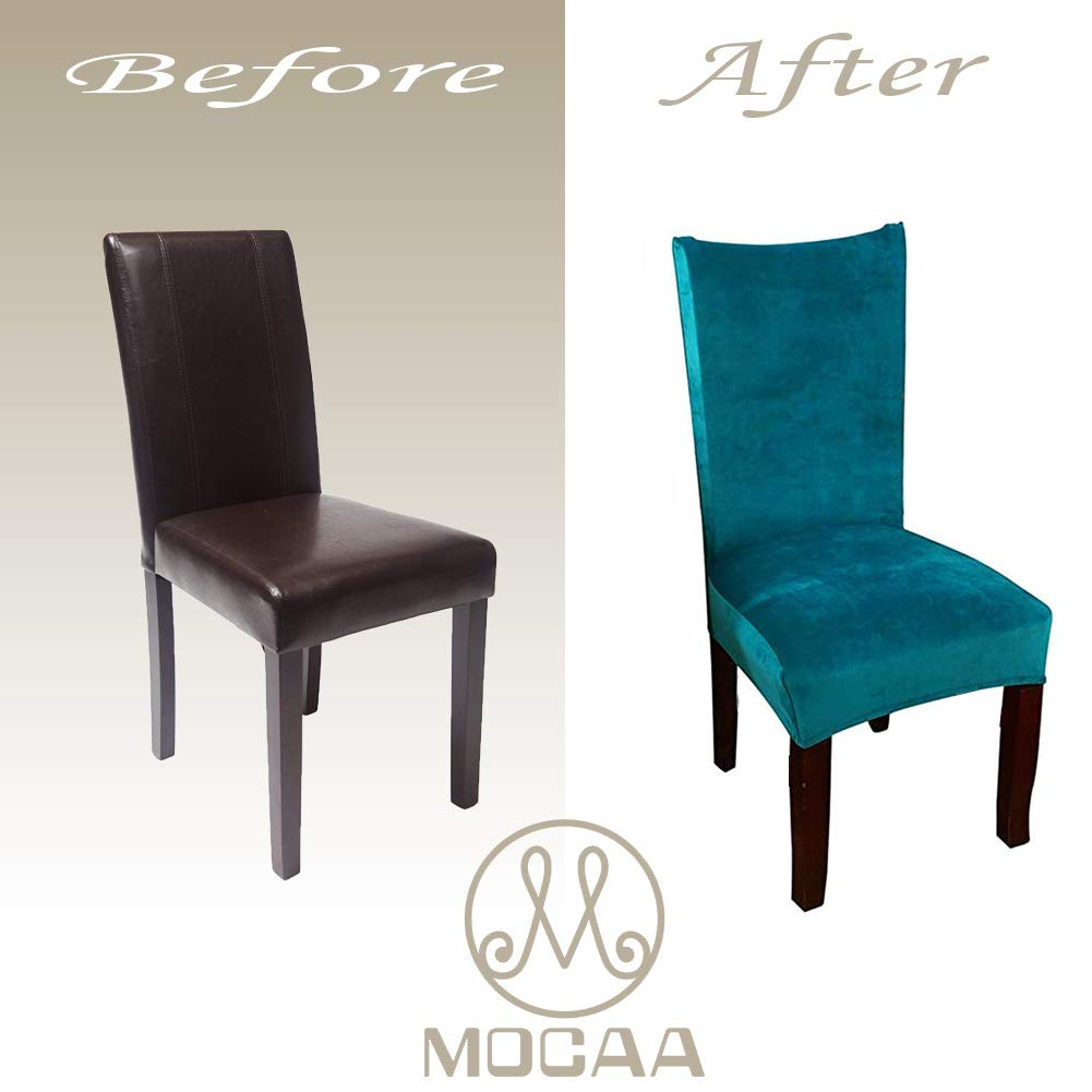 Mocaa Velvet Stretch Dining Room Chair Covers Thick Soft Removable