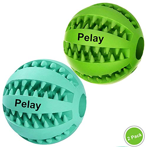 Pelay Dog Ball Toys for Pet Tooth Cleaning/Chewing/Playing,IQ Treat Ball Food Dispensing Toys of 2 Non-Toxic Soft Rubber Ball. (Best Dog Toys For German Shepherds)