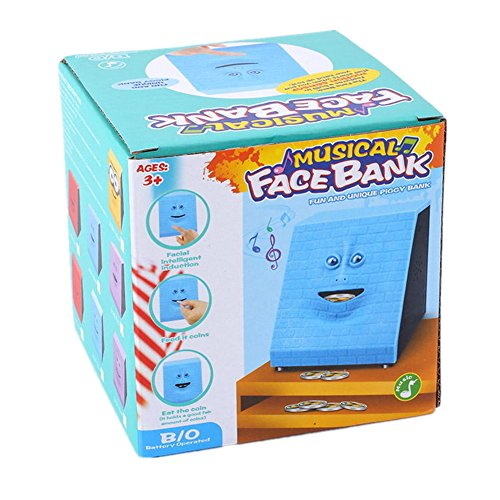 Blue Brick Wefond Novelty Coin Money Eating Musical Face Bank Automatic Money Saving Collection Piggy Bank for Kids Children