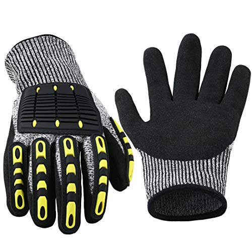 ASTOOL Cut Resistant Deckhand Gloves, Micro Foam Anti Collision and Anti Impact Work Gloves for Automotive Repair, Construction, Protection Impact Resistant Oil Non Slipping Safety Gloves 1 Pairs