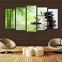 OYJJ 5 Unids Buda Pintura Mural Pintura Mural Hermosa Pintura de Paisaje Pintura Budista Pintura al óleo decoración del hogar (Piedra de bambú)
